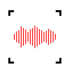 sound waves icon red icon inside black vector image vector image