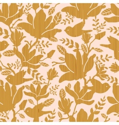 Textured wooden magnolia flowers seamless pattern vector image vector image