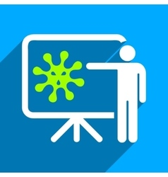 Virus lecture flat square icon with long shadow vector