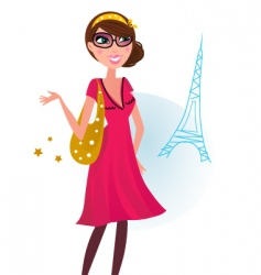 woman shopping in Paris vector image