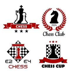 Chess cup club and tournament symbols vector image vector image
