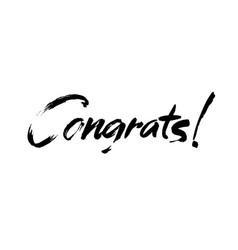 congrats hand written lettering for vector image