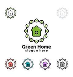 Green home logo real estate logo design vector image vector image