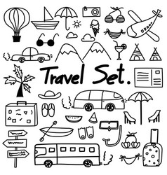 hand drawn doodle travel set vector image vector image