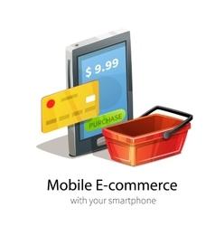 Mobile e-commerce concept vector