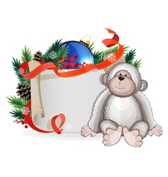 Monkey and christmas tree branch vector