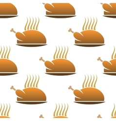 Seamless pattern of roast chicken on dish vector image