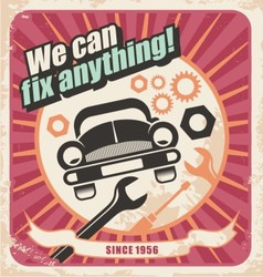 Auto service retro poster vector image