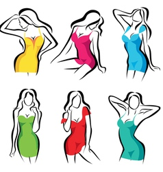 beautiful women set of symbols in dress vector image vector image