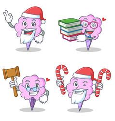 Cotton candy character set with santa book judge vector