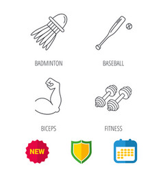 fitness sport biceps and baseball icons vector image