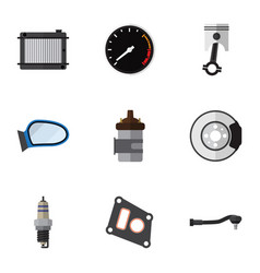 flat icon component set of spare parts gasket vector image