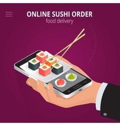 Online sushi Ecommerce concept order food online vector image vector image