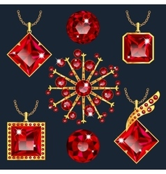 Set of red rubies pendants vector image vector image