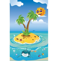Shark and Tropic Island vector image