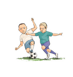 Soccer players running with the ball on the field vector