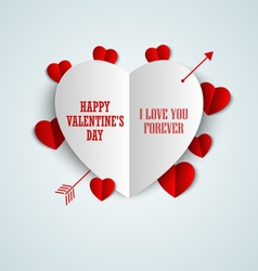 Valentine card with folded paper hearts vector image
