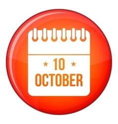 10 october calendar icon flat style vector image