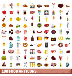 100 food art icons set flat style vector image vector image