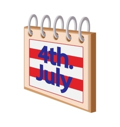 4 July CalendarIndependence Day USA cartoon icon vector