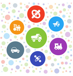 7 tire icons vector image