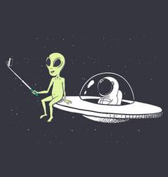 Alien makes selfie with astronaut vector