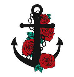 Anchor of boat with around of red roses vector