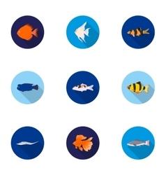 Aquarium fish set icons in flat style Big vector
