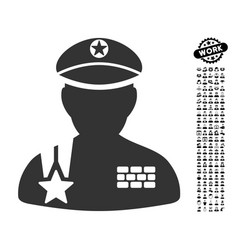 Army general icon with professional bonus vector