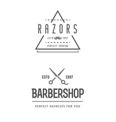 Barber shop set of two emblems in monochrome vector