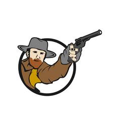Bearded cowboy wild west gunfighter tattoo vector