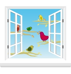 Birds in the window vector