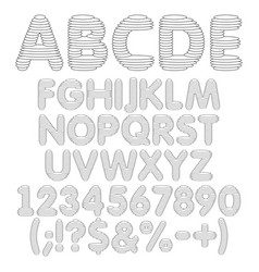 black and white alphabet from round layer vector image