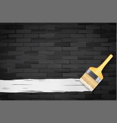 black brick wall and brush vector image