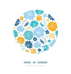 Blue and yellow flowersilhouettes circle decor vector image