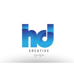 Blue gradient hd h d alphabet letter logo vector