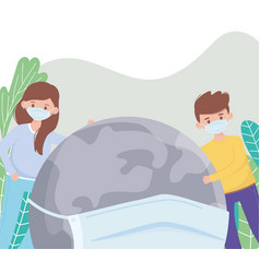 boy girl and world with medical mask save the vector image