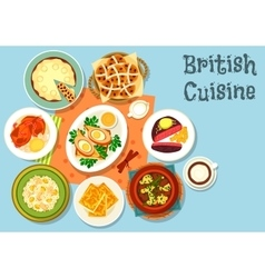British cuisine main dishes with snack food icon vector