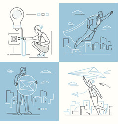 Business concepts - set line design style vector