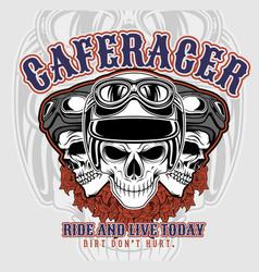 Cafe racer 3 skulls wearing helmets hand vector