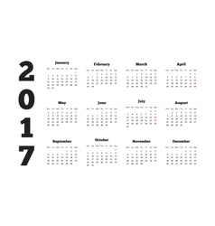 Calendar on 2017 year with week starting from vector image vector image