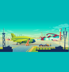 cartoon airport landscape airliner on vector image