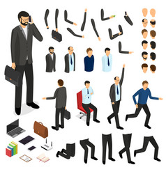 cartoon businessman character creation set vector image