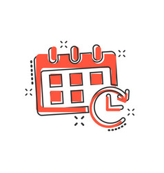 cartoon calendar icon in comic style reminder vector image