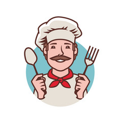 Chef logo cooking restaurant food symbol vector