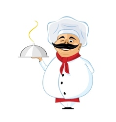 Chef with mustache holding silver serving dome vector