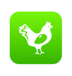 chicken icon green vector image