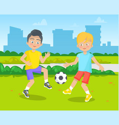 children playing football pupil and school vector image