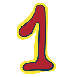 Clipart numerical number one or 1 in red vector