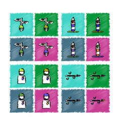 Collection of flat shading style icons war gagets vector